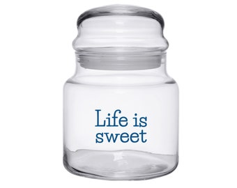 Personalized Glass Candy Jar Storage Container Etched Made in USA