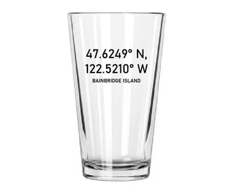 Personalized Beer Pint Mixing Glass - Made in USA Geographic Coordinates Groom, Groomsmen, Guys Trip, Home Bar