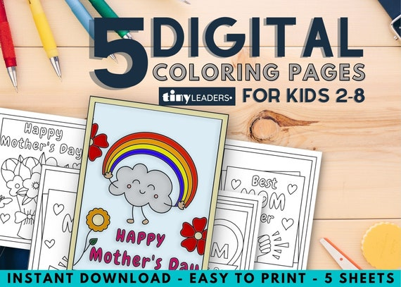 Mother's Day Coloring Pages for Kids 5 Sheets
