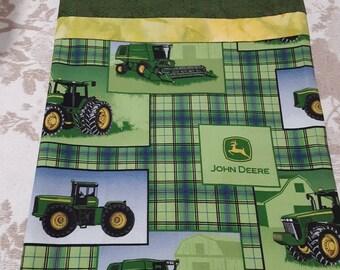 John Deere Equipment on Grey Cotton Fabric a standard handcrafted pillowcase