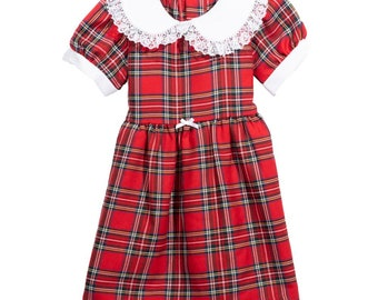 7 Years Royal Stewart Girls Tartan Dress Summer Floral Print Frock Age 6 months