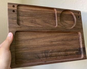 Large Walnut Rolling tray