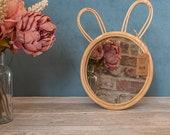 Rattan Bunny Mirror, Childrens Mirror, Nursery Room, Kids Room Mirror, Round Hanging Mirror