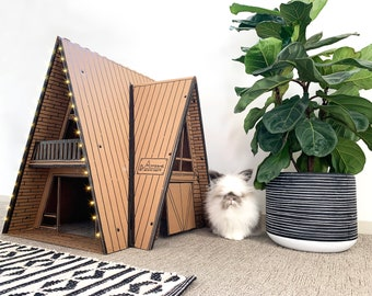 Pet House Cabin for Cats and Rabbits (A-frame Architecture with LED Lights)