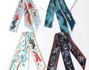 100% Mulberry Silk Under Sea Scarf, Tree, Phoenix and fire scarf, Hair scarf, scarf for bags, skinny scarf, designer scarf, 120cm*5.2cm