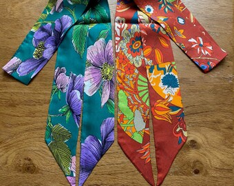 100% Mulberry Silk  Scarf, flowers  Pattern Long Skinny scarf, Hair scarf, Scarf for bags,118cm*5.3cm