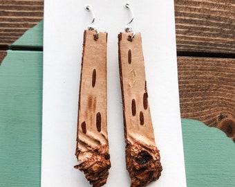 Birch Bark Earrings Raw - Large