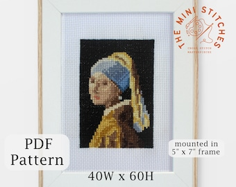 Girl with a Pearl Earring cross stitch pattern - PDF Download - Johannes Vermeer painting - mini wall art