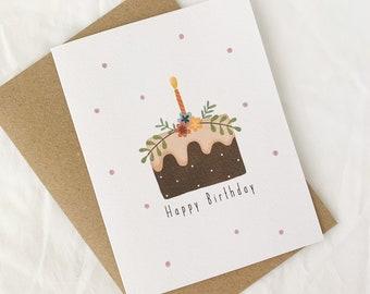 Happy birthday card, birthday cake card, greeting card, illustrated greeting card