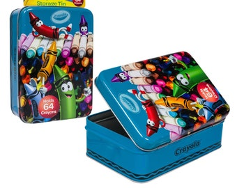 Tin Crayon Boxes with 1 pack of 24 crayons.