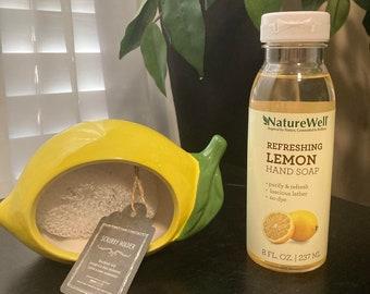Lemon Shaped Scrubby Holder and Lemon Dish Hand Soap!