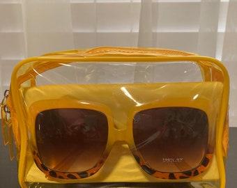 Yellow Make-up bag with shades!