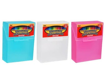 Jot Crayon Boxes, 4x3x1.25 in. (1 clear crayon case comes with one 1 box of Imagine crayons)