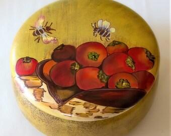 Blueberry Fruit Oval Trinket Jewelry Box