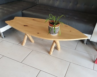 Freewood surfboard table natural design nature fully handmade