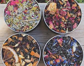 Boxed Set of 4 Best Selling Teas, Tea Sampler, Fae Grey, Queen Mab's Dream Tea, Transylvania Tea Party, Hedgerow Harvest Tea