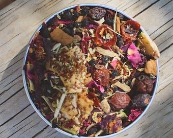 Hedgerow Harvest, Harvest Tea, Loose Leaf Tea, Hawthorn Tea, Elderberry Tea, Herbal Tea, Autumn Tea, Fall Tea, Apple Tea, Witchy Tea