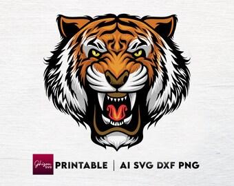 Tiger SVG Cut File Tiger Head Vector Svg Digital File Animal Print Silhouette Printable Images Digital Svg Eps Png Ai Pdf Jpg Files