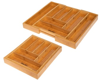 Expandable Bamboo Drawer Organizer With 6-8 Compartments - Kitchen Drawer Organizer Silverware Tray - Drawer Dividers for Bathroom, Bedroom