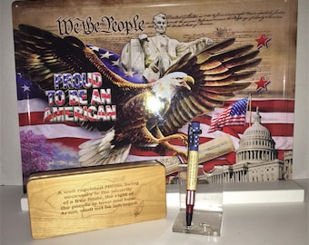 Second Amendment pen featuring Red, White, and Bue