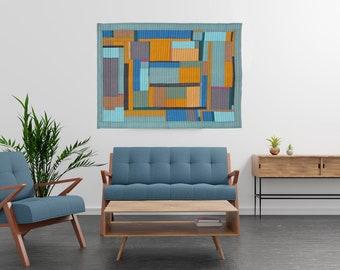 Modern Blocks Wall Hanging, Patchwork Quilt, Decorative Bed Runner