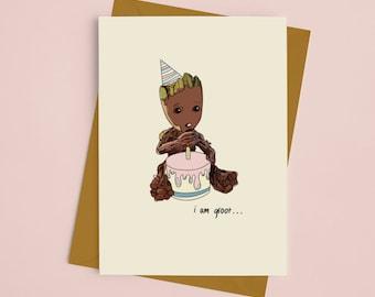 Marvel Groot Birthday Greeting card, guardians of the galaxy inspired card, marvel greeting card, I am groom inspired card, 2021 birthday
