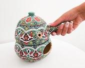 Ceramic Handmade Tea pot with warmer, Coarse Pottery Teapot, Tea light Warmer, pottery teapot .gift for Mom,READY TO SHIP ,Ceramic heaters