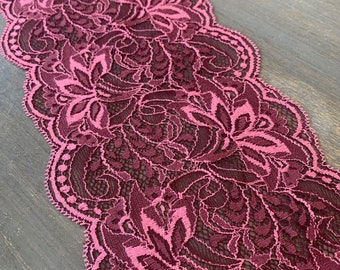 Antique wide black silk circle pattern Calais lace 3.5  by over 12 feet long  #L-17