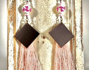 Handmade Leather, Pink Fringe, and Floral Ceramic Bead Earrings
