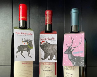 Bottle Pendant Christmas | Set of 3 pcs | Deer | Bear | Deer | Gift to dear people