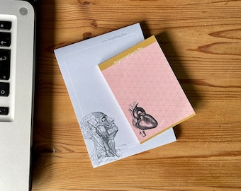 2 notepads | Set A6 and A7 | Anatomy & Heart Vintage Illustration | Gift Student | Block | 50 sheets each