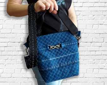 Сute mini crossbody bag upcycled denim, vegan wallet, small sling bag,