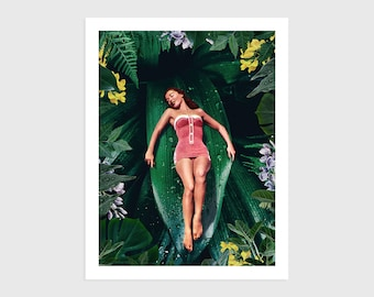 Art Print - Vintage Collage of a Woman Lying on a Plant Leaf   Surreal art, retro art, wall decor, poster, flowers, jungle