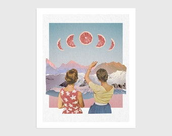 Art Print - Vintage Collage of Women with Mountains and Grapefruit Moons   Surreal art, retro art, wall decor, poster