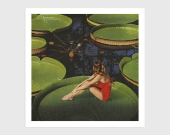 Art Print - Vintage Collage of a Woman Sitting on a Waterlily   Surreal art, retro art, wall decor, poster, nenuphar