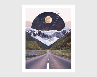 Art Print - Vintage Collage of a Road with Mountains and the Moon   Surreal art, retro art, wall decor, poster, landscape