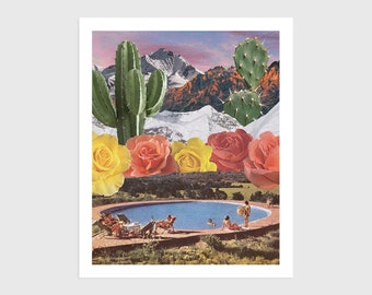 Art Print - Vintage Collage of People at a Swimming Pool with Flowers, Cactus and Mountains   Surreal art, retro art, wall decor, poster