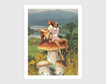 Art Print - Vintage Collage of Women Sitting on a Mushroom   Surreal art, retro art, wall decor, poster