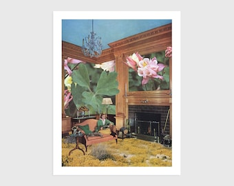 Art Print - Vintage Collage of a Woman Reading with her Cat in Nature   Surreal art, retro art, wall decor, poster, flowers, plants