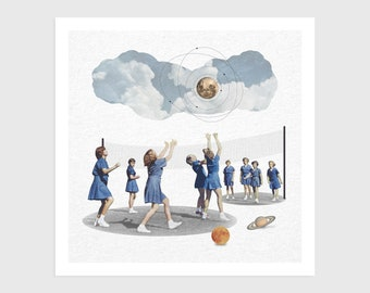Art Print - Vintage Collage of Girls Playing Volleyball with Planets   Surreal art, retro art, wall decor, poster, space, galaxy