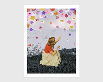 Art Print - Vintage Collage of a Woman under Rain of Flowers    Surreal art, retro art, wall decor, poster, wall art