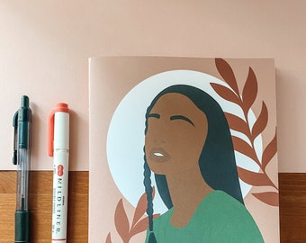 Abstract Black Woman A5 Handmade Notebook