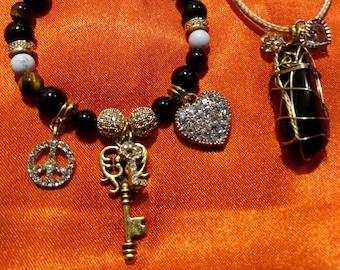 Obsidian Healing Key Charm Bracelet and Necklace