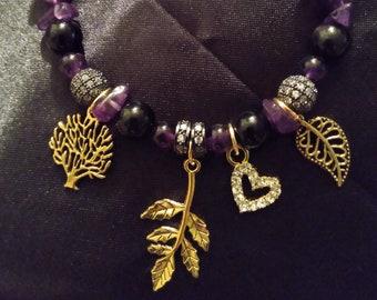 Obsidian Amethyst Leaf Bracelet and Necklace Set