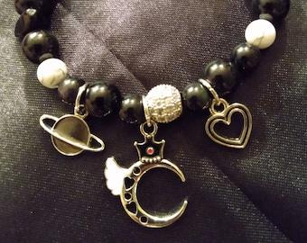 Obsidian, Howlite and Mud Gemstone Moon Planet Charm Bracelet