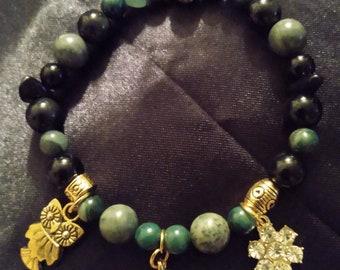 Obsidian Jade and Mud Gemstone Bead Charm Bracelet and Necklace Set