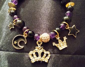 Obsidian Amethyst Crown Charm Bracelet
