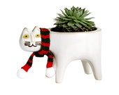 Ceramic Flower Pot Cute Cat Shape Garden Pots With Cat Scarf Succulent Planter Plant Container Sweet Home Decor For Living Room