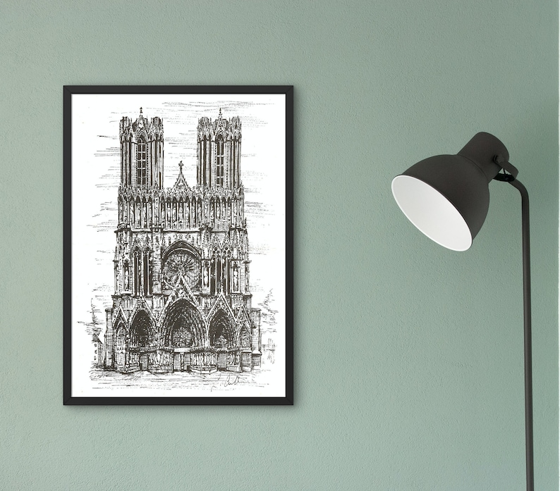 Reims Cathedral print France wall art framing decor image 0