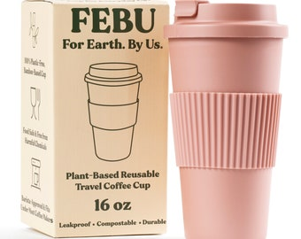 FEBU Plant-Based Reusable Coffee Cup with Lid and Sleeve | 16oz, Dusty Rose | Portable Travel Mug made from Bamboo | Dishwasher Safe
